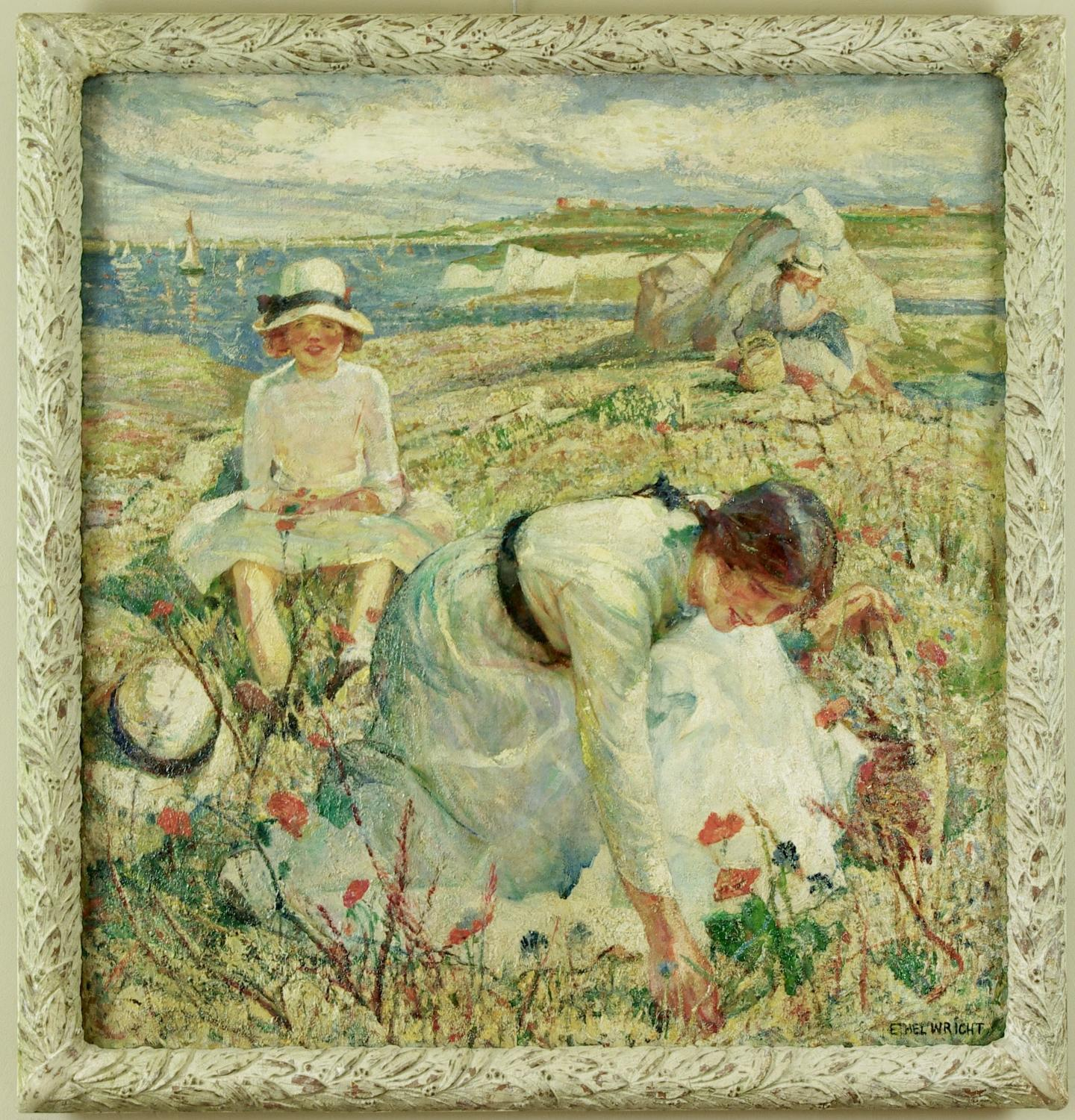 Miss Ethel Wright, Picking Flowers on a Cliff Top