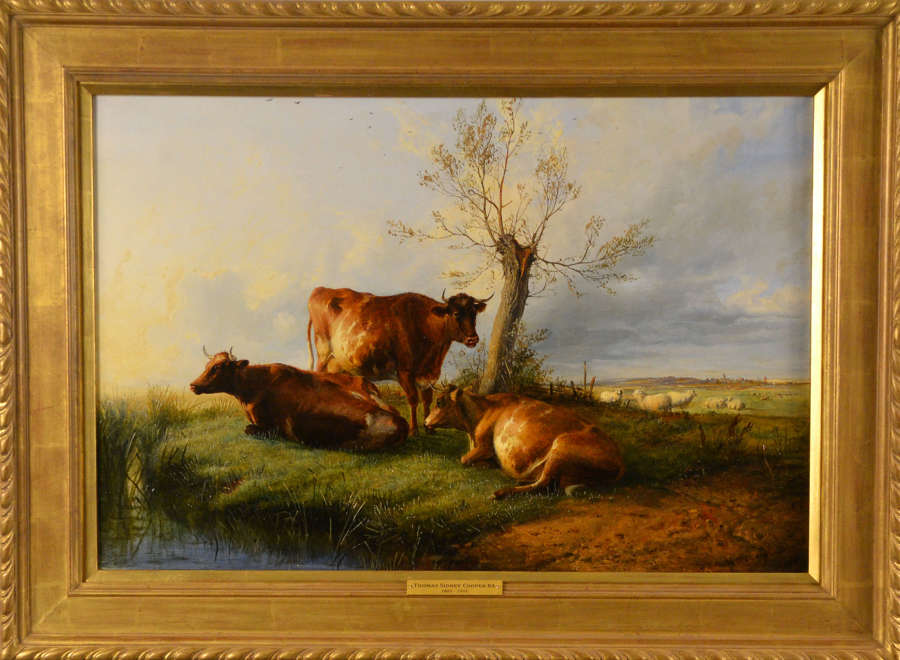 CATTLE RESTING ON A RIVER BANK ~ THOMAS SIDNEY COOPER R.A.