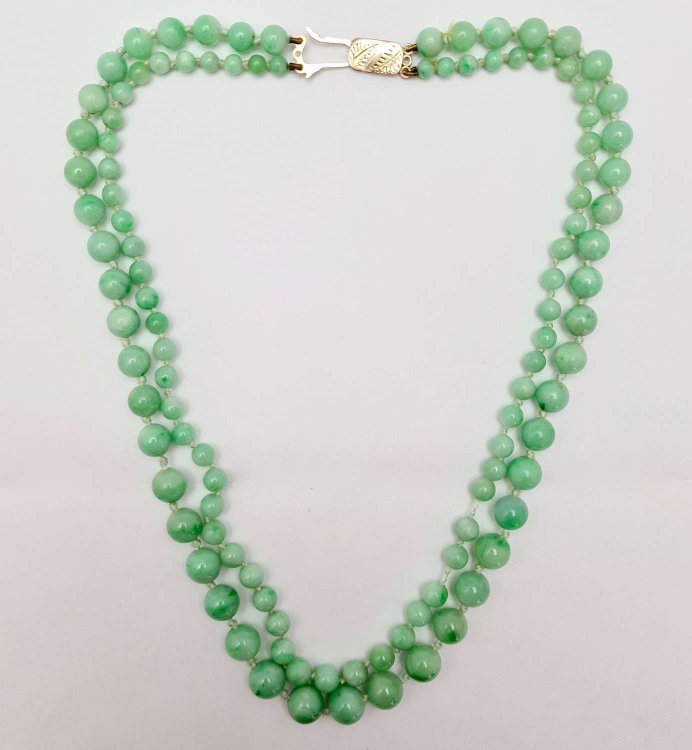 2 Strand Jadeite Bead Necklace