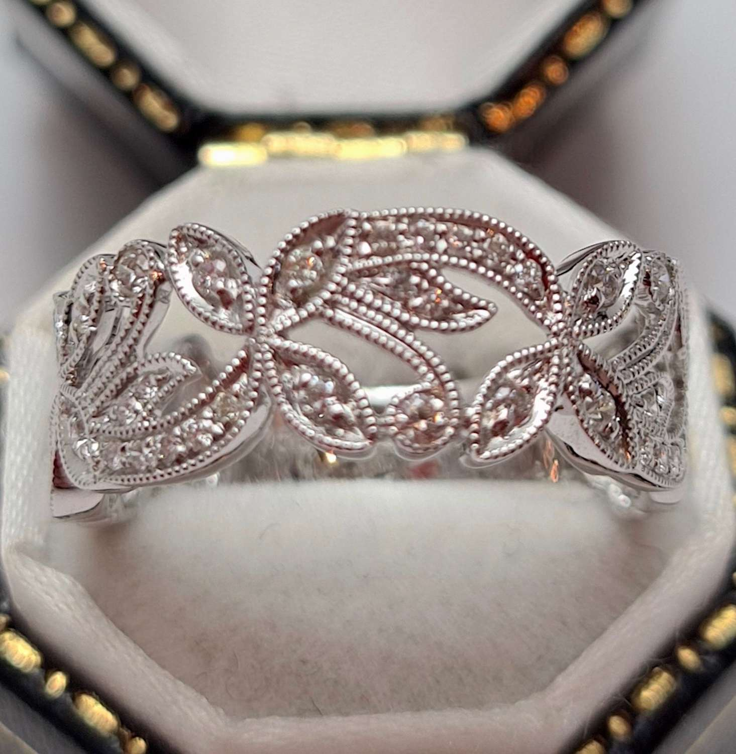 White Gold Diamond Set Filigree Ring