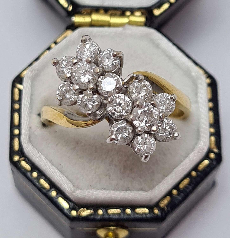 Diamond Double Daisy Ring