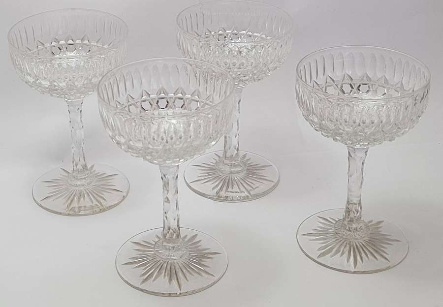 Set of Four Cut Glass Champagnes