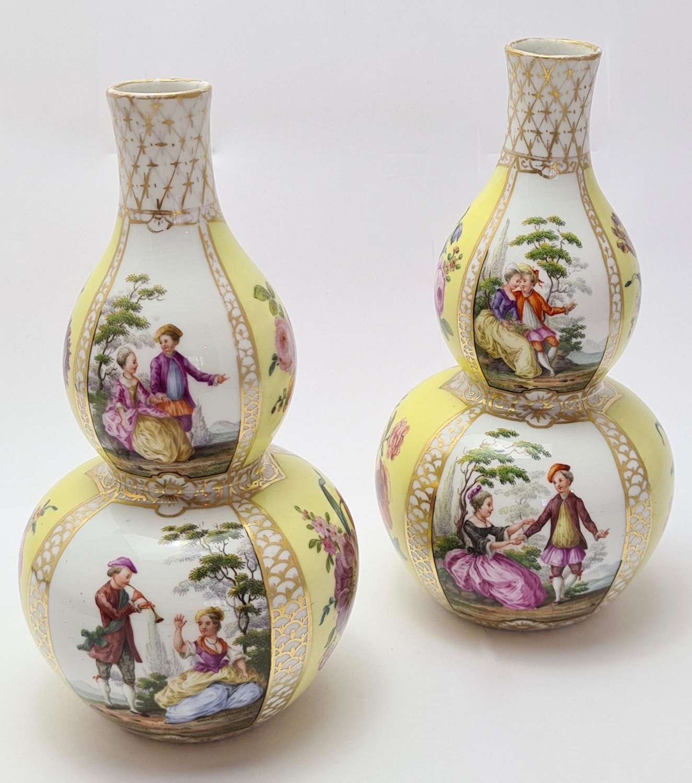 Pair of Meissen Hand Painted Vases