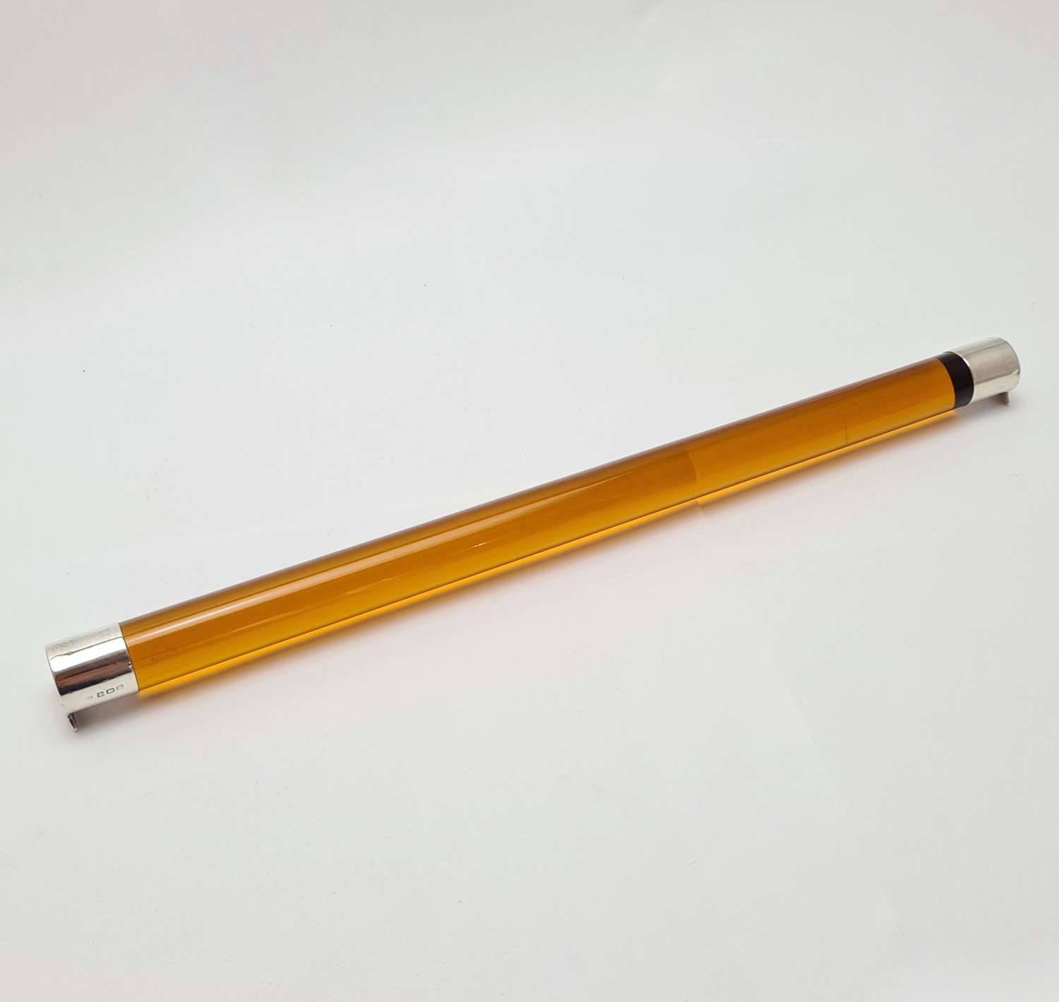 Amber Glass Ruler with Silver End Caps