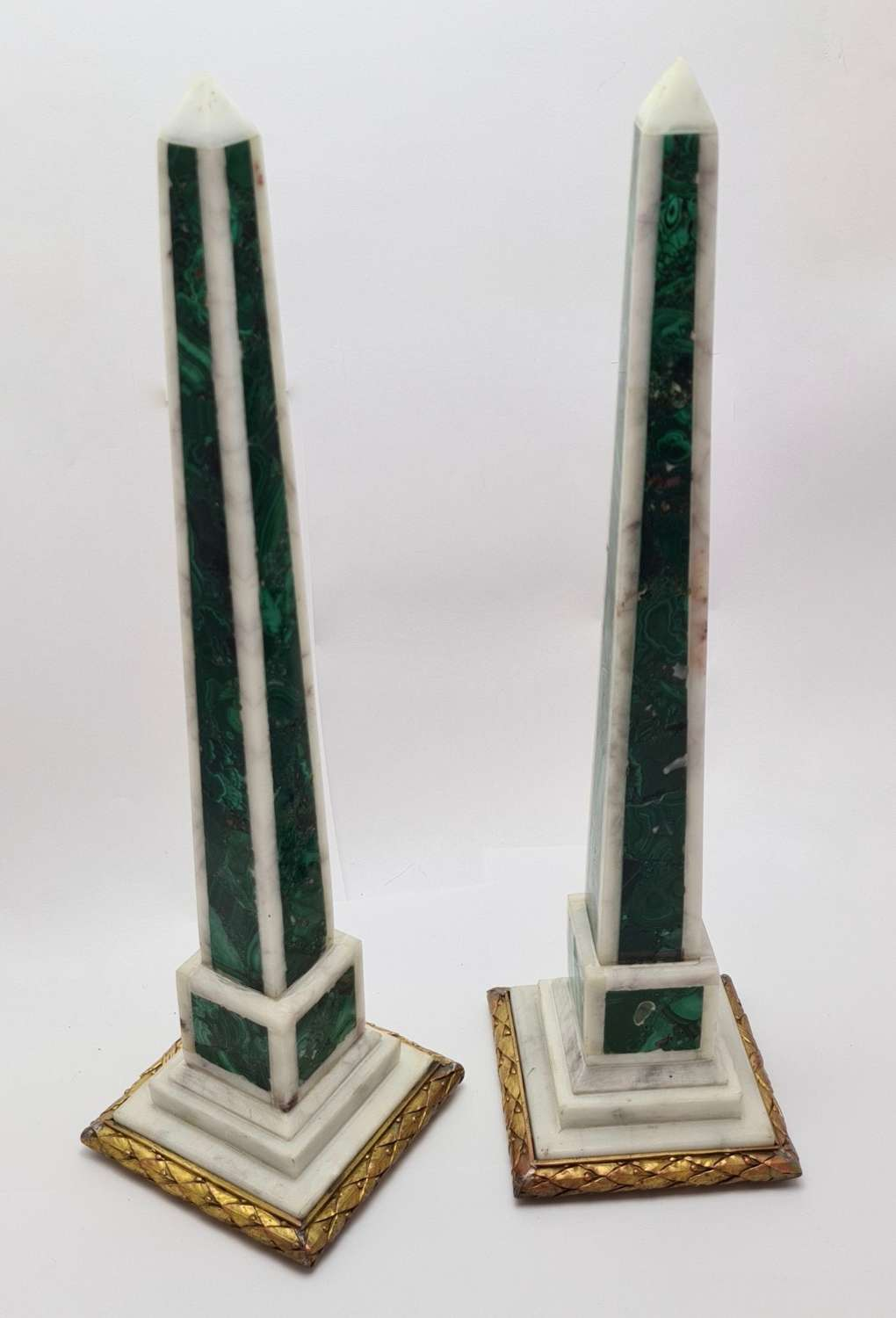 Pair of Malachite Inlaid Obelisks