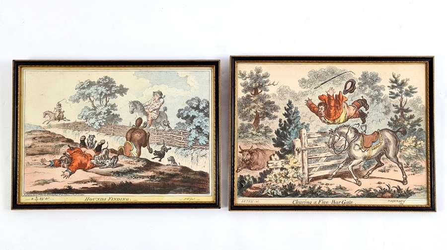 Two Hand Coloured Aquatints