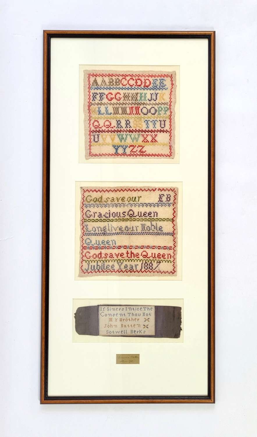 Batten Family, Collection of Three Late 19th Century Samplers