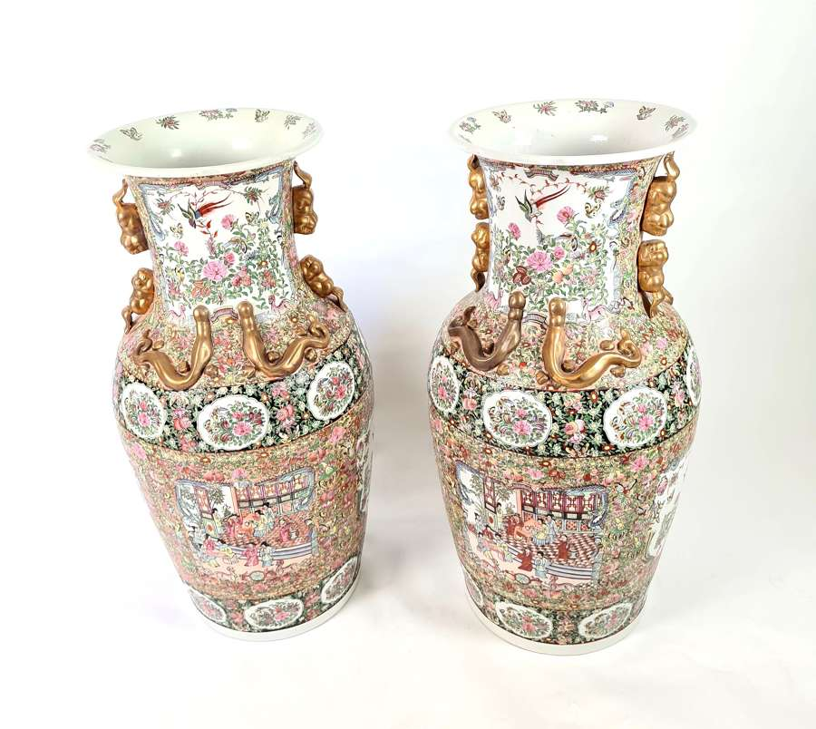 A Large Pair of Canton Vases
