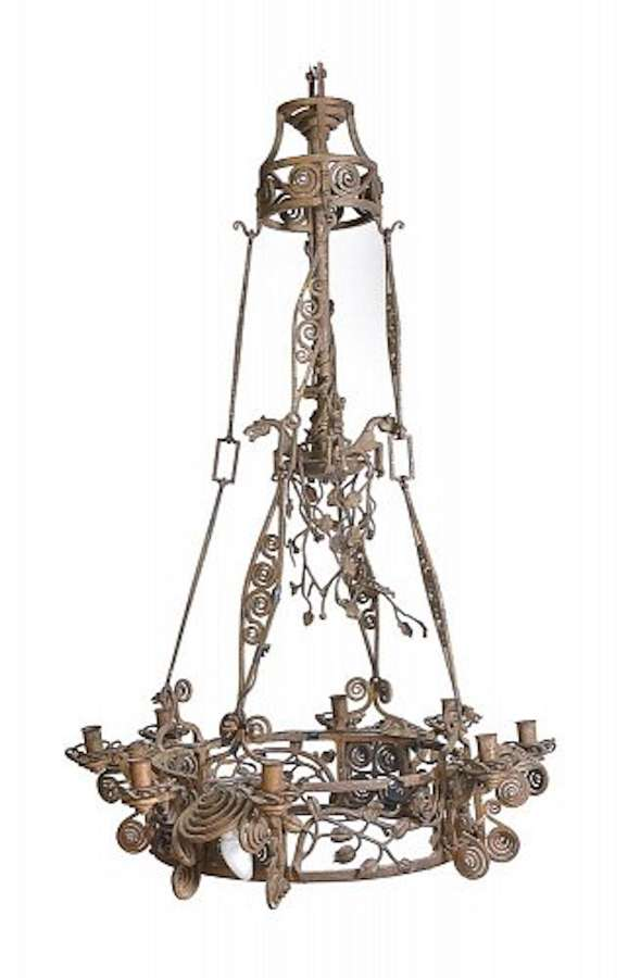 A Continental Wrought Iron Chandelier c1900