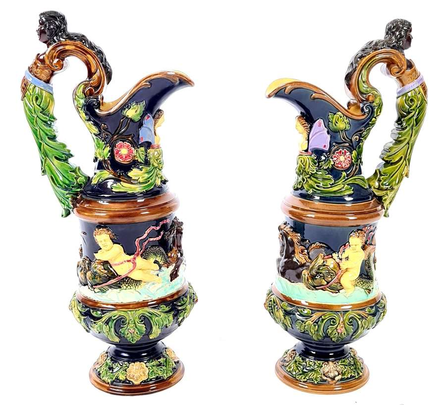 A Pair of Majolica Ewers