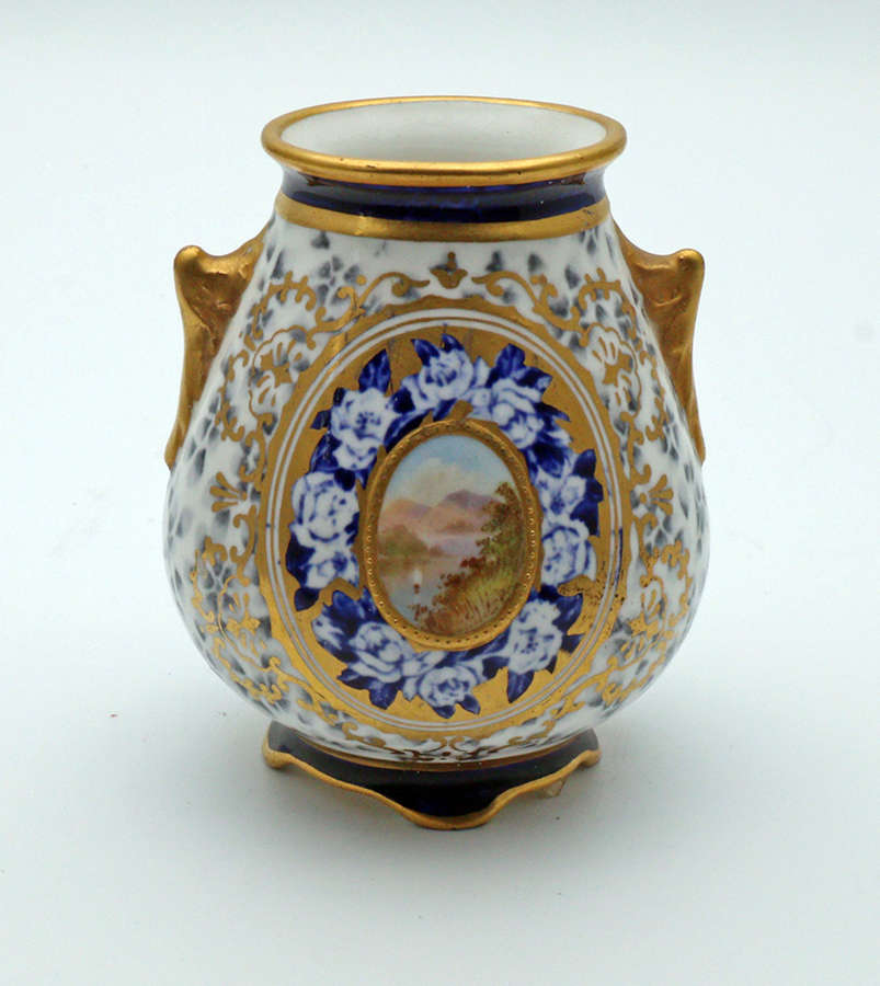 Coalport vase with hand-painted cartouche c.1890