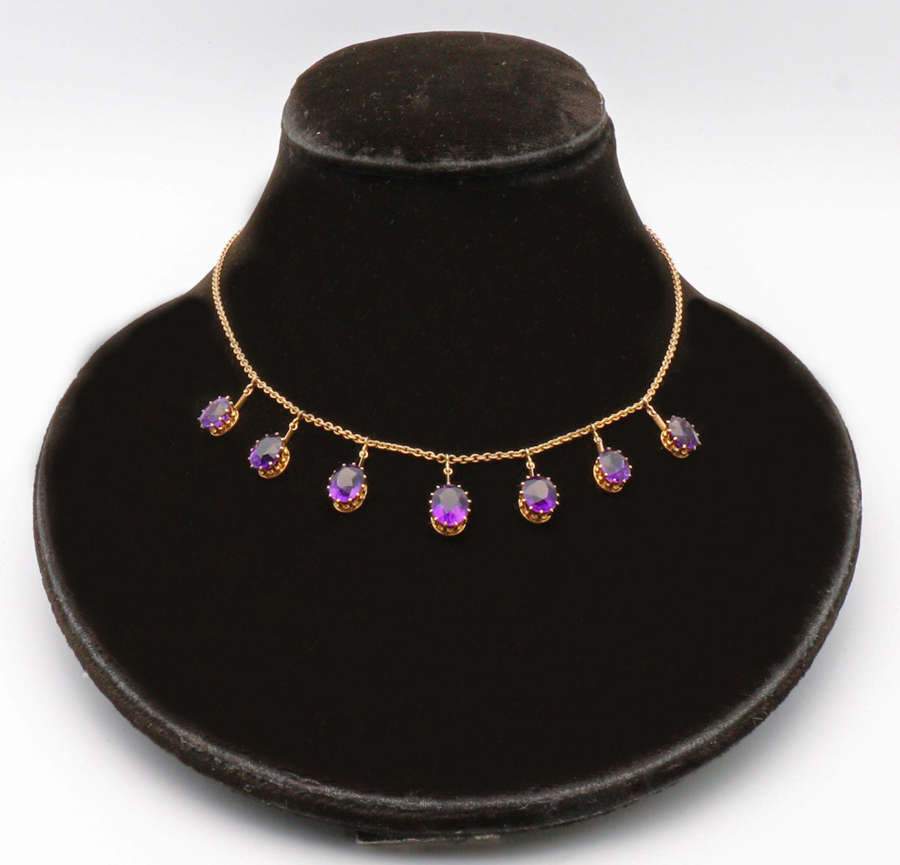 Victorian amethyst fringe gold necklace