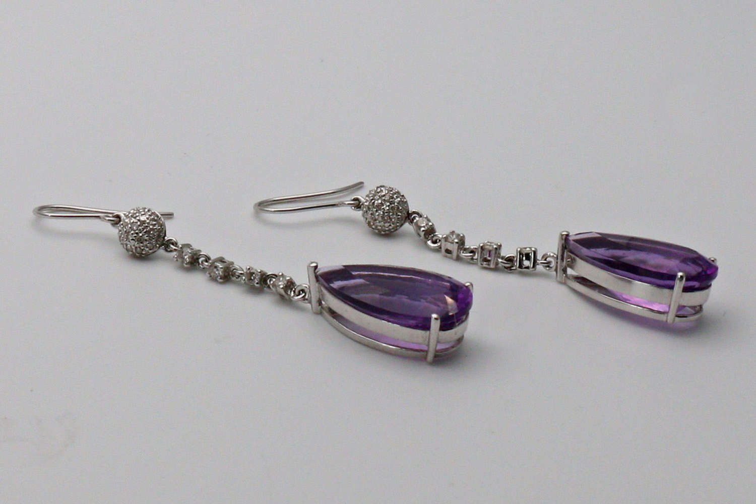 Pair of amethyst and diamond ear pendants