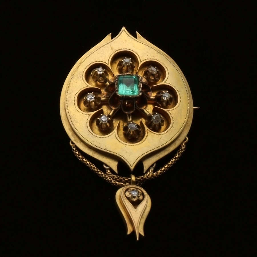 Diamond and emerald brooch c. 1860