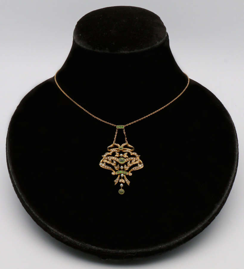 Edwardian peridot, demantoid garnet and seed pearl pendant