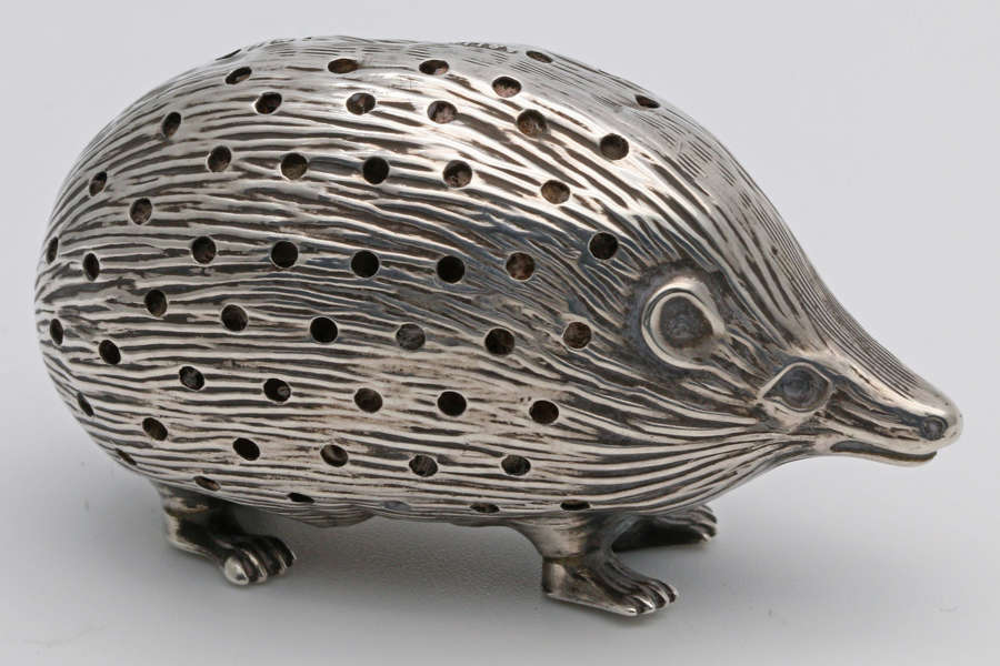 Edwardian silver hedgehog pin cushion