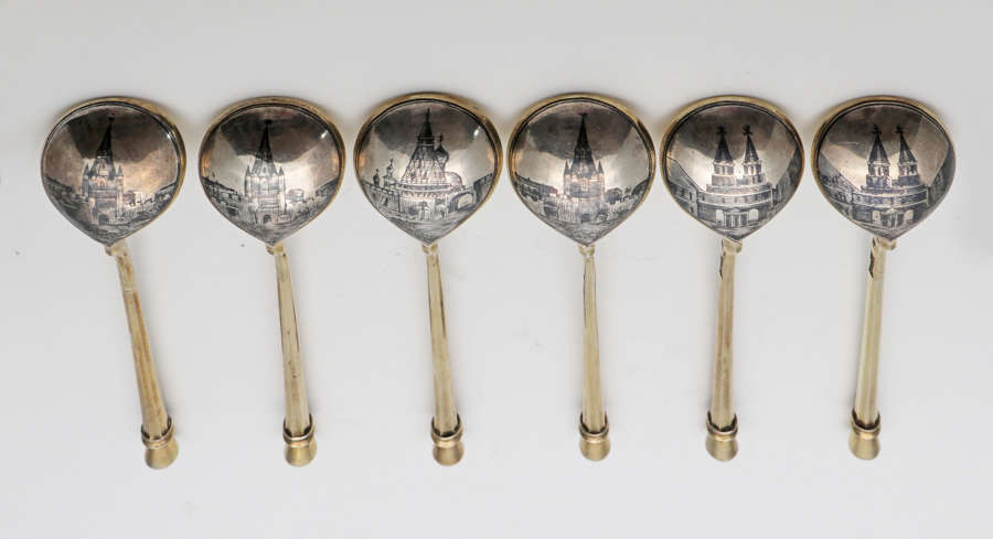 Russian silver niello tea spoons by Keibel