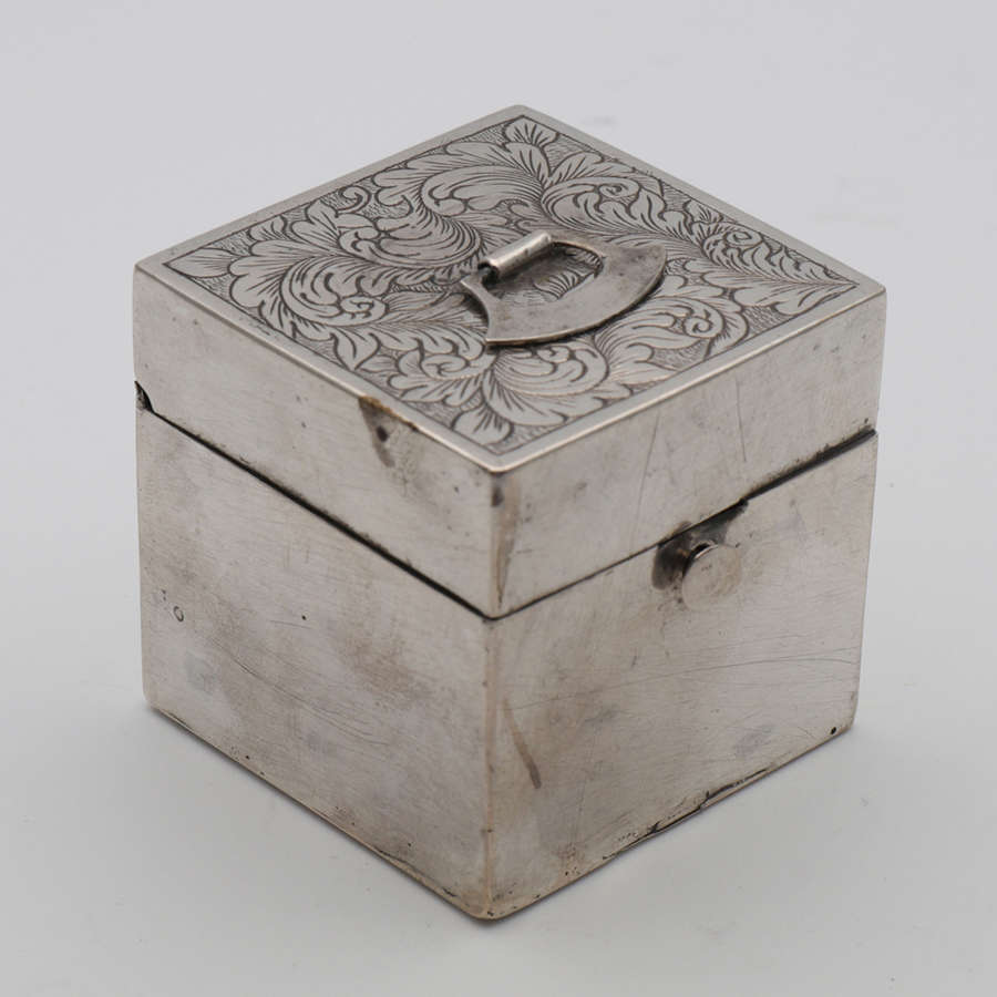 A Chinese export silver travelling cube inkwell holder