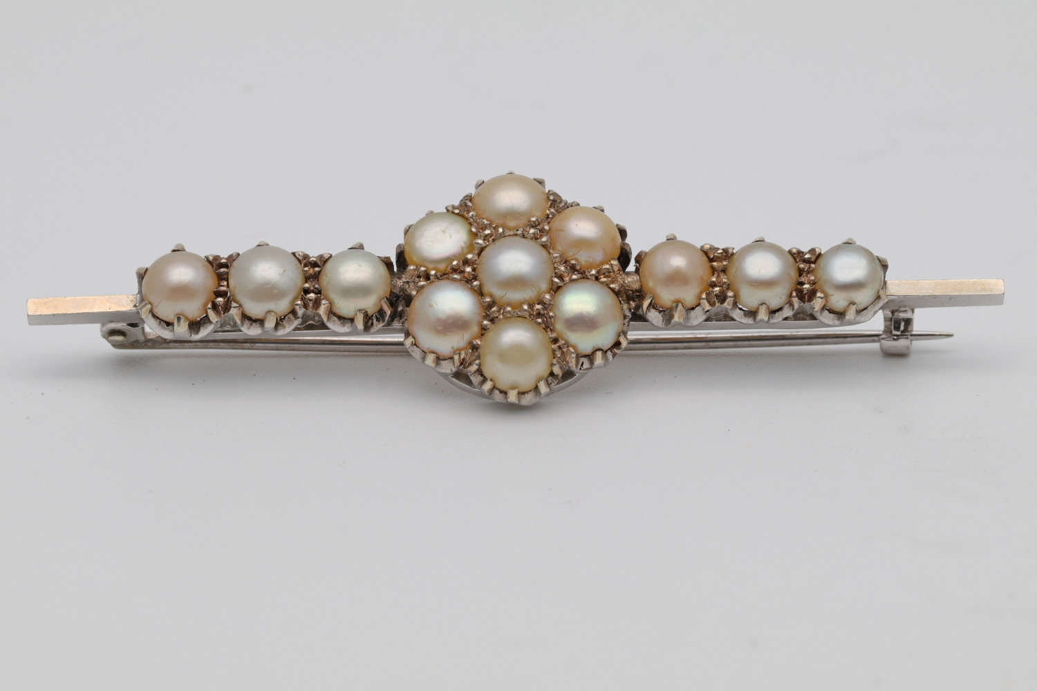 Edwardian White Gold and Pearl Brooch