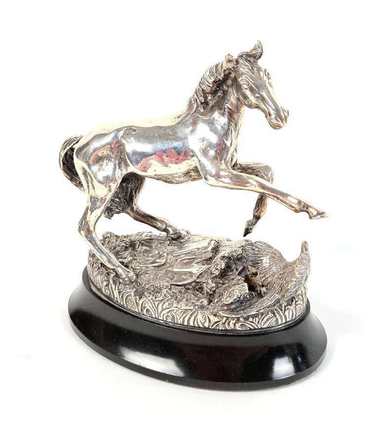 'Startled Yearling' British Horse Society Silver Sculpture