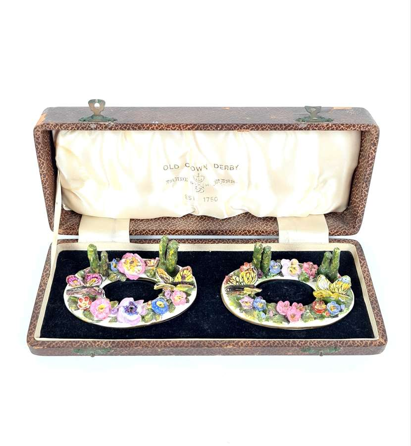 Pair of Cased Menu Holders Derby