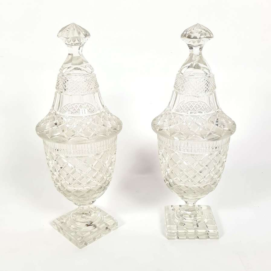 A Pair of Cut Glass Sweet Vases
