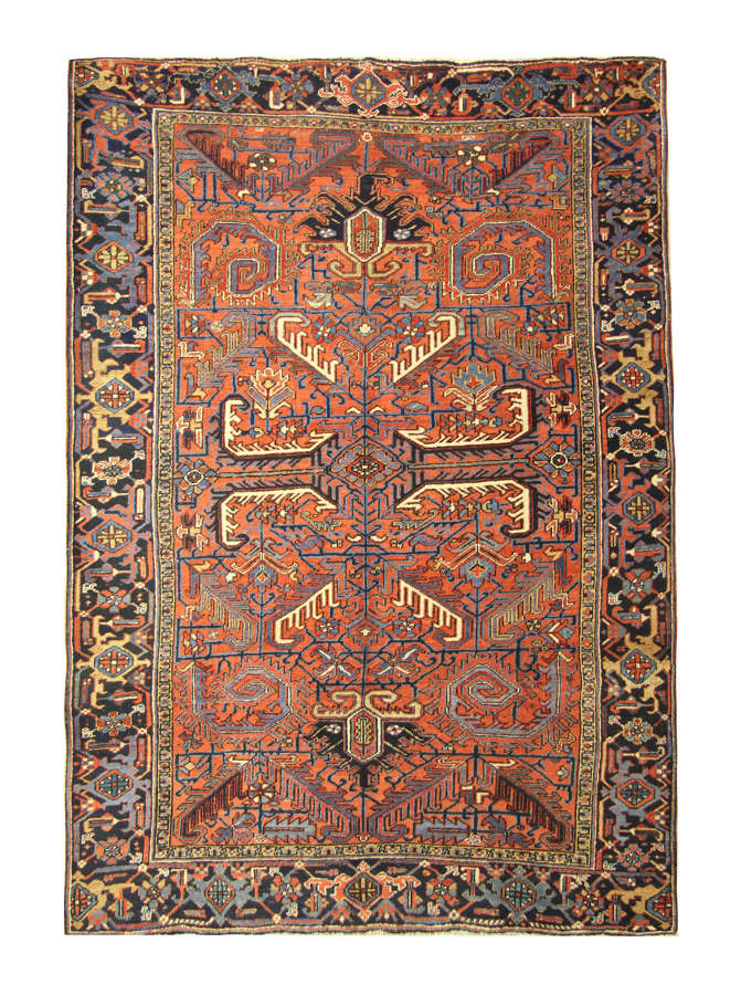Antique Persian Rugs, Orange Rug From Heriz Carpet