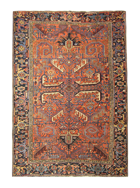 Antique Persian Rugs, Orange Rug From Heriz Carpet