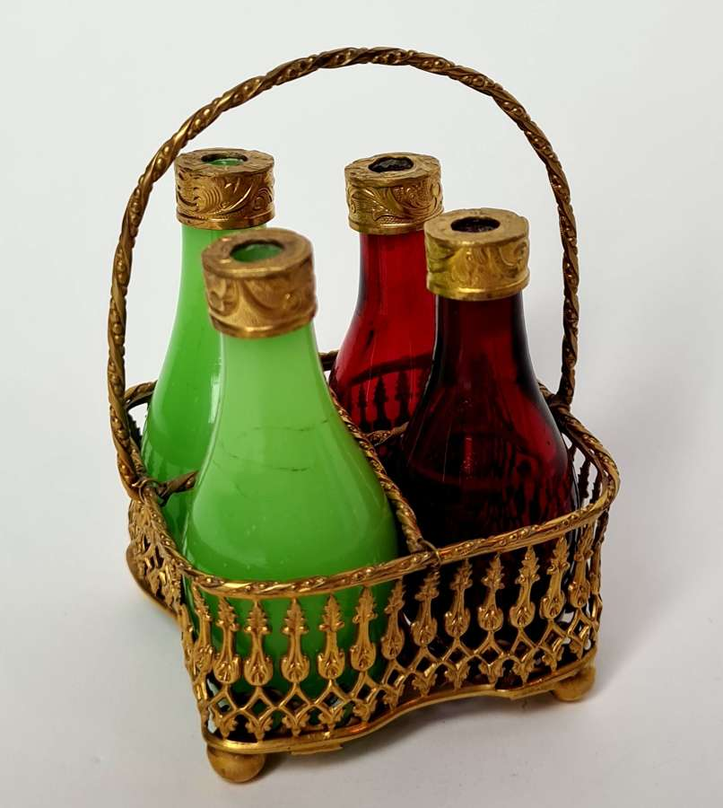 French Glass Bottles in Gilded Basket