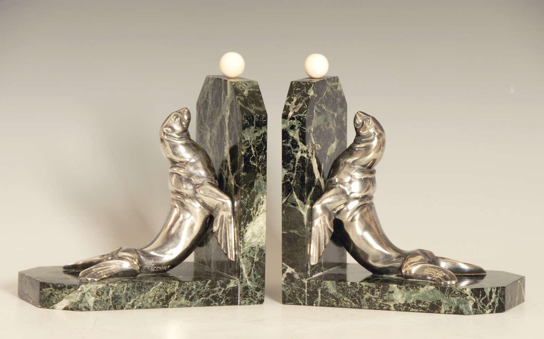 Art Deco Sealion Bookends