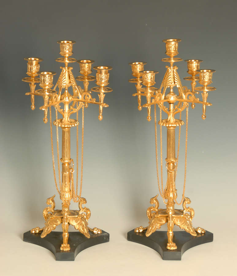 A Pair of Gilt Bronze Candelabra