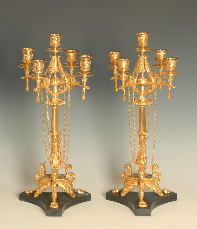 A Pair of Gilt Bronze Candelabra