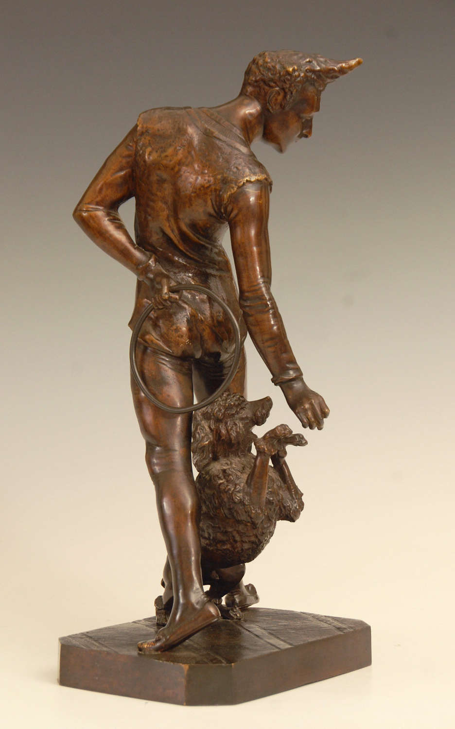 Bronze of a Clown with his Poodle