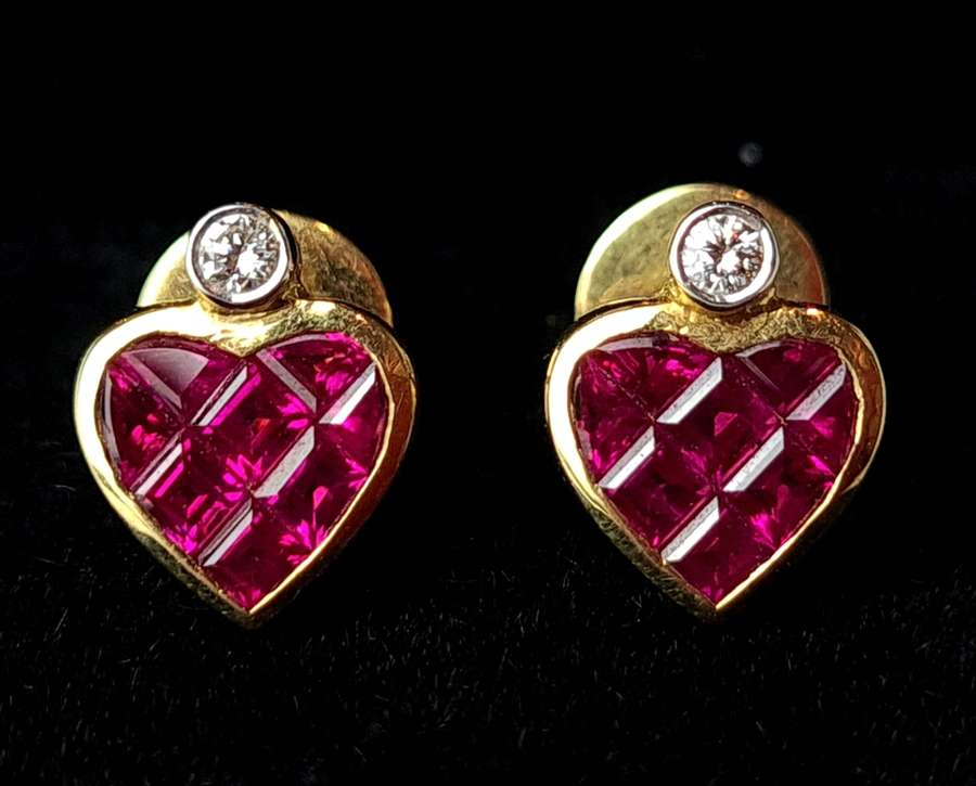 Heart Ruby Earrings