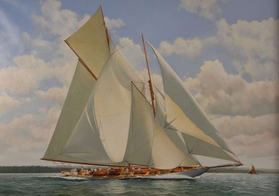 THE SCHOONER SUSANNE RACING IN THE SOLENT ~ WILLIAM HENRY BISHOP