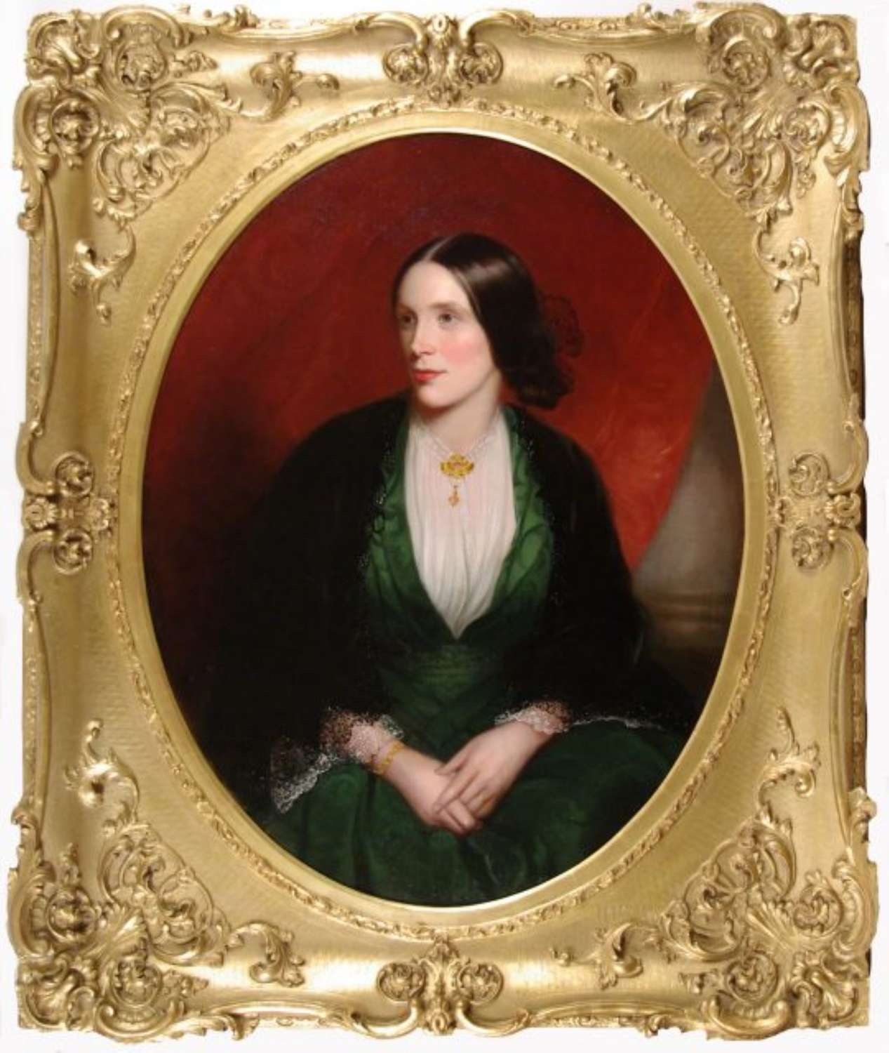 PORTRAIT OF A YOUNG LADY IN A GREEN DRESS AND BLACK SHAWL ~ JAMES SANT