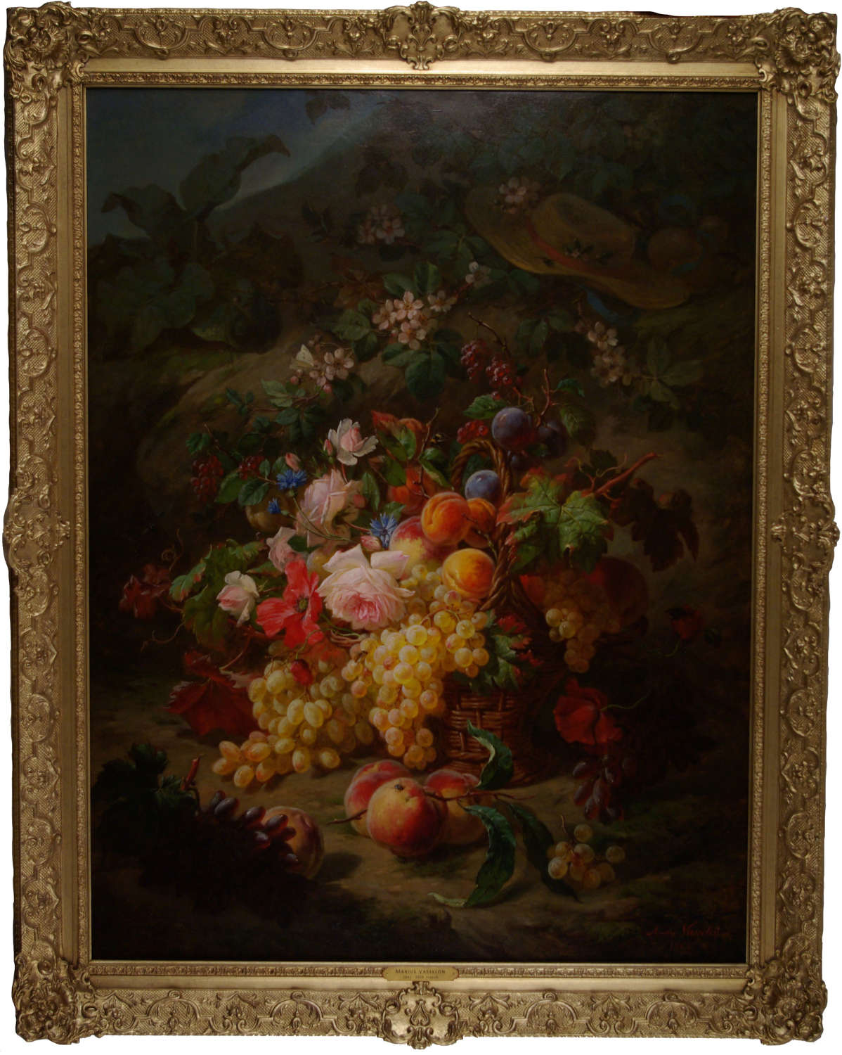 A STILL LIFE OF FRUITS AND FLOWERS ON A MOSSY BANK ~ MARIUS VASSELON