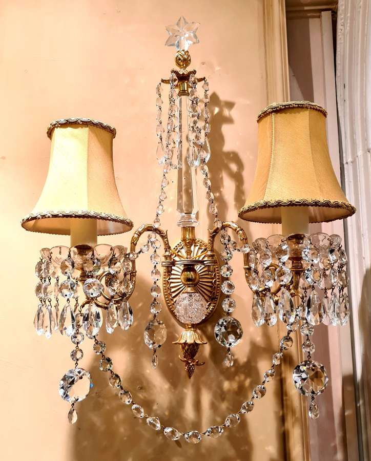 A Pair of Gilded Bronze Wall Lights