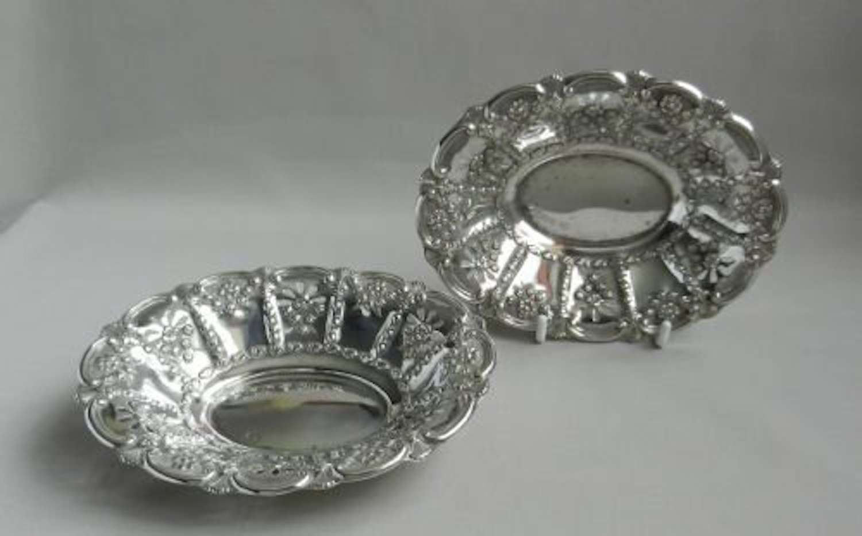 Pair Antique Silver Bon Bon Dishes