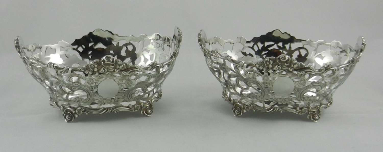Pair Antique Silver Baskets