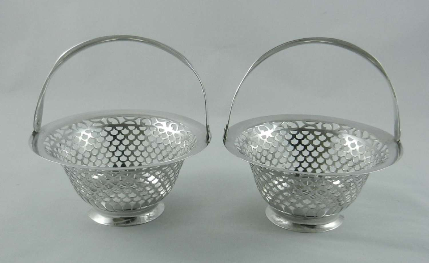 Pair Antique Silver Sweet Baskets.
