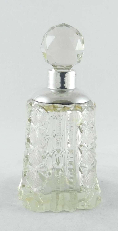 Silver-Mounted Cut Glass Perfume Bottle