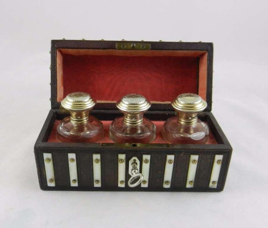 Antique Silver-Gilt & Glass Scent Bottles