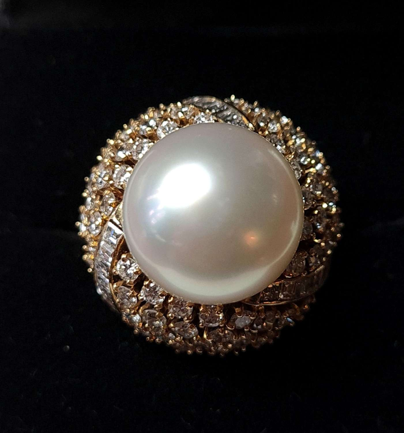 South Sea Cultured Pearl and Diamond Cluster Ring