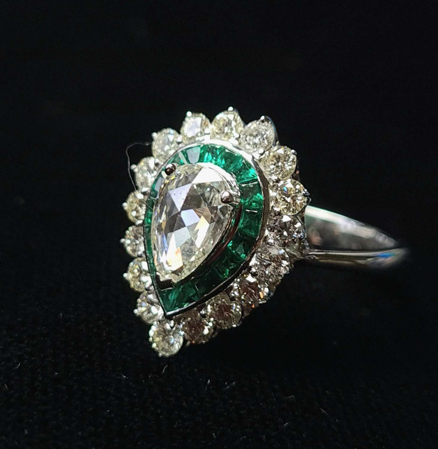 Pear Shaped Diamond and Emerald Ring