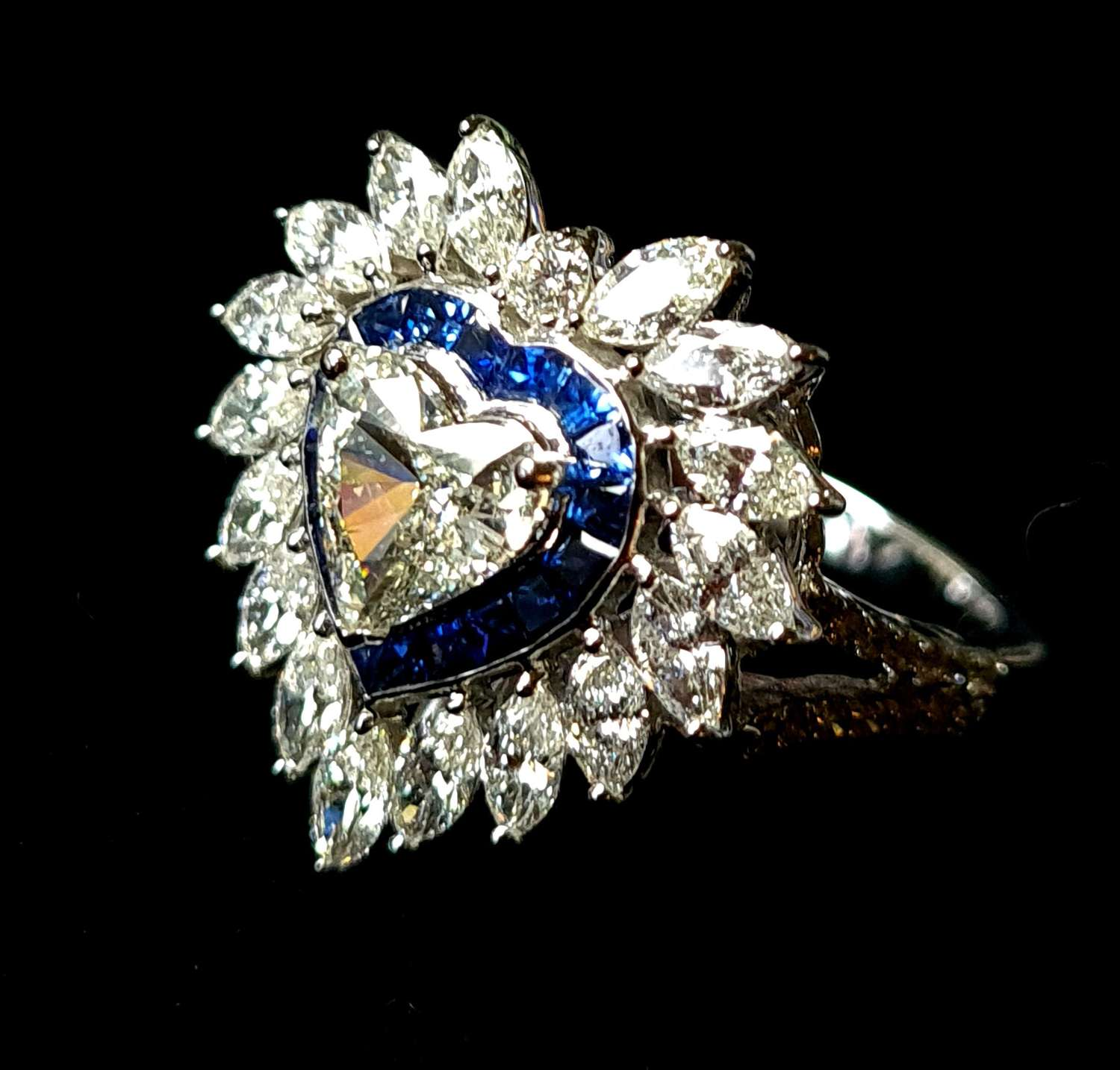 Heart Shaped Diamond and Sapphire Ring