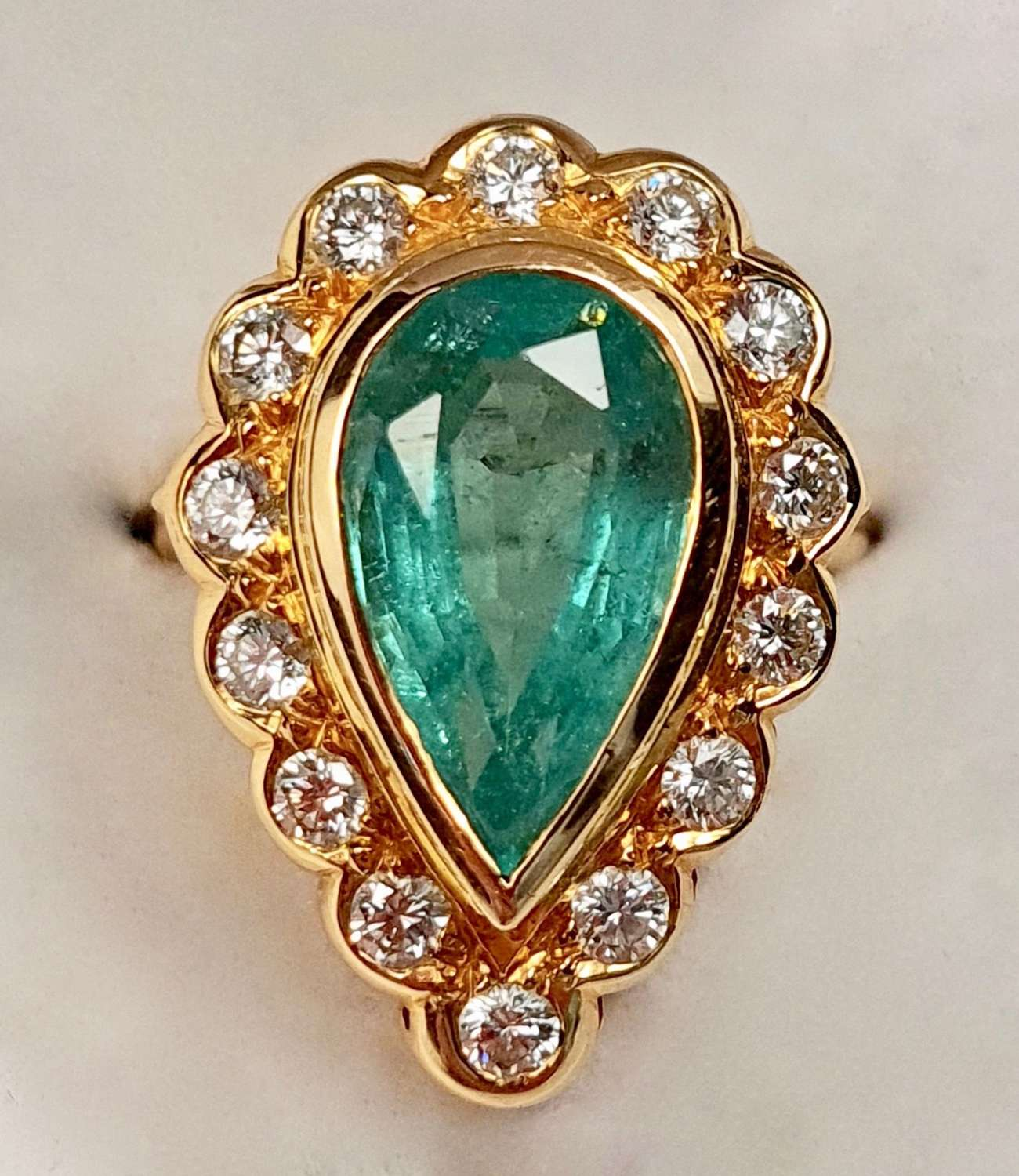 Large Pear Shaped Emerald Ring