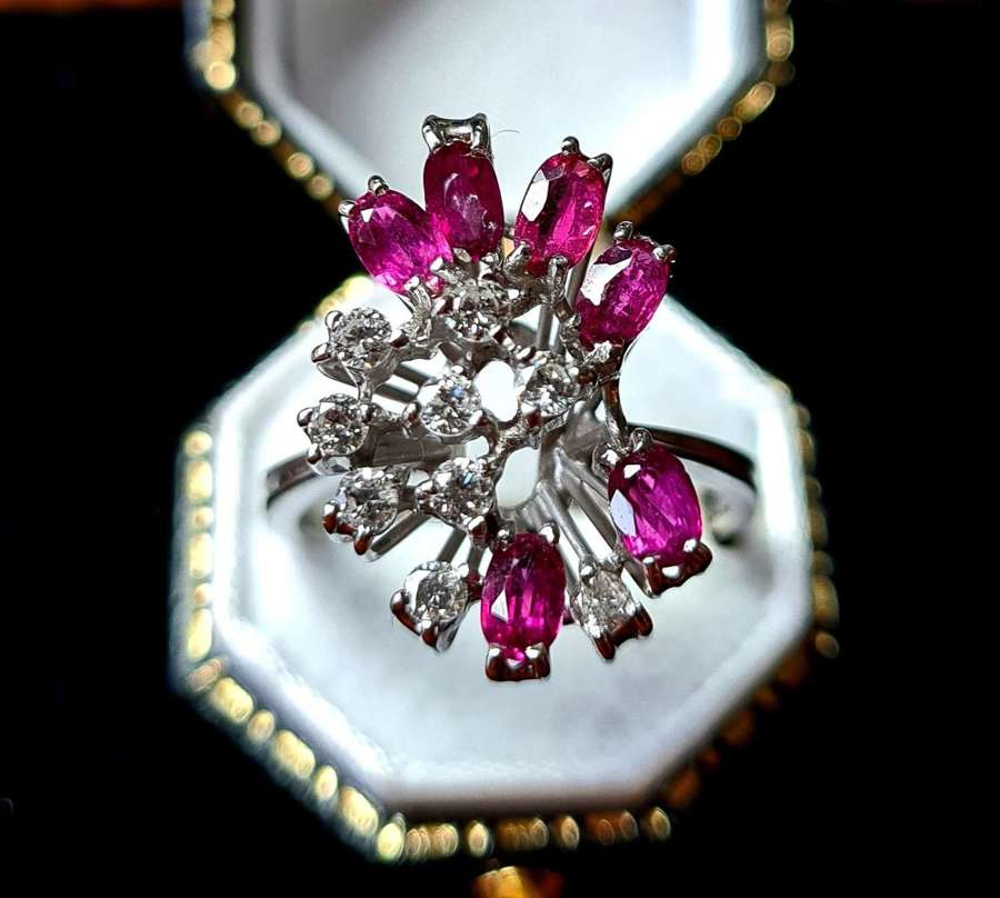 Abstract Ruby and Diamond Ring