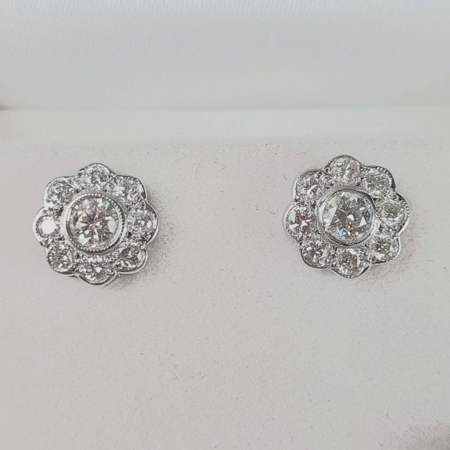 Pair of Diamond Cluster Earrings