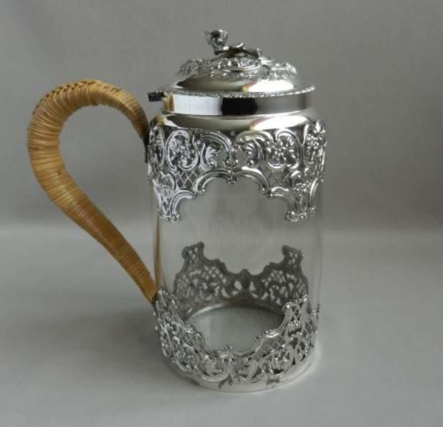 Antique Silver Mounted Glass Tankard